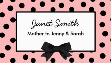 Fashionable Pink and Black With Girly Bow Mommy Card Business Cards