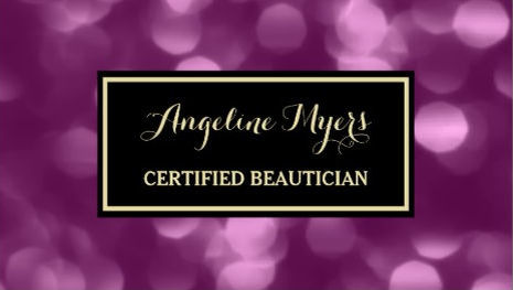 Elegant Beautician Glamorous Purple Luxe Bokeh Business Cards
