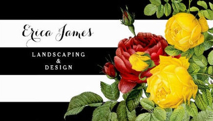 Modern Rose Floral With Big Stripes Landscaper Business Cards