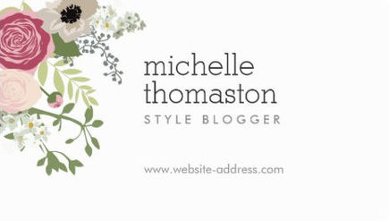 Elegant Pink Floral Bouquet Style Blogger Business Cards