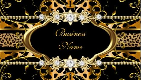 Gold Leopard Print Black Jewel Look Image Business Cards