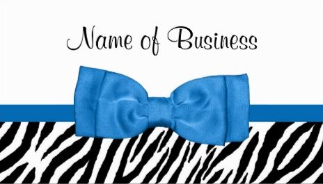 Modern White and Black Girly Zebra Print Pretty Bright Blue Bow Business Cards