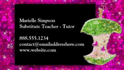 Girly teacher and instructor business cards girly business cards hot pink glitter apple substitute teacher tutor business cards colourmoves
