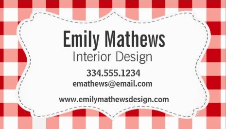 Cute Country Style Red and White Gingham Business Cards