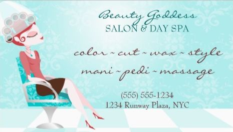 Girly Beauty Goddess Aqua Hair Salon Appointment Reminder Business Cards