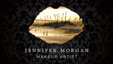 Eye Catching 3D Black Damask Gold Lips Makeup Artist Business Cards