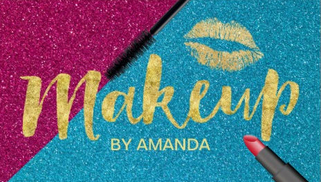 Turquoise and Purple Makeup Artist Gold Script and Lipstick Business Cards