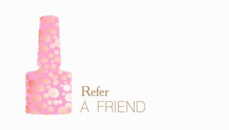 Pink and Gold Polish Bottle Manicurist Nail Salon Refer A Friend Business Cards