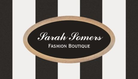 Bold Black and White Striped Fashion Boutique Gold Business Cards