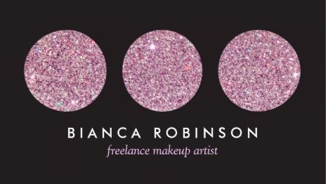 Glitzy Pink Glitter Circles Palette Freelance Makeup Artist Business Cards