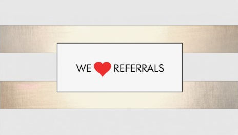 Striped Faux Gold and White Red Heart Referral Business Cards
