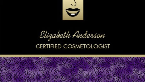 Girly cosmetology business cards page 1 girly business cards luxury cosmetology purple cheetah makeup artist business cards colourmoves
