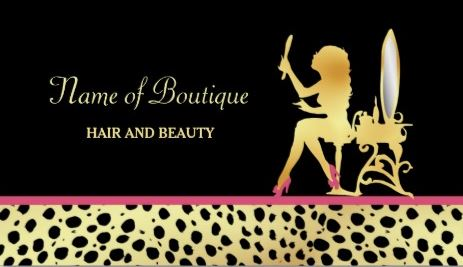 Pink Gold Cheetah Print Hair and Beauty Boutique Business Cards