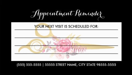 Faux Gold Scissors Pink Floral Hair Appointment Reminder Business Cards