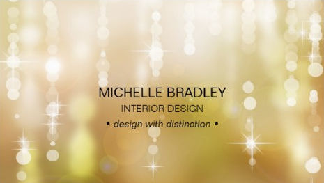 Gold Glamour Glowing Lights Orbs Sparkle Interior Design Business Cards