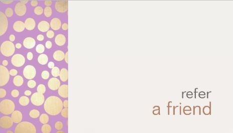 Modern and Hip Gold Refer A Friend Glam Salon Coupon Business Cards