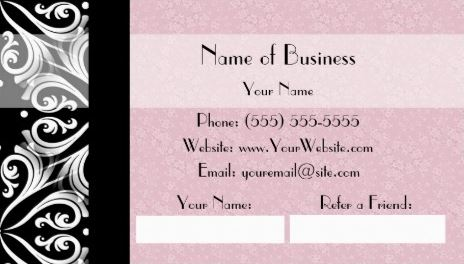 Elegant Parisian Black and White Damask Pink Ribbon Refer a Friend Business Cards