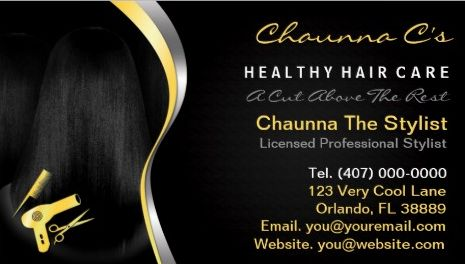 Yellow and Black Hair Salon Stylist Beautician Appointment Business Cards