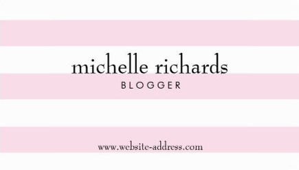 Stylish Pink and White Simply Striped Blogger Business Cards