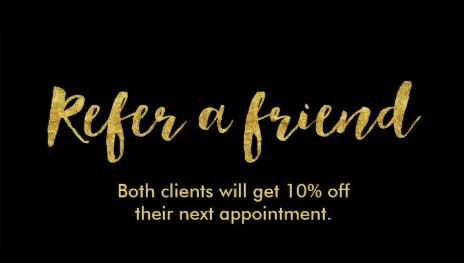 Modern Black and Gold Script Refer a Friend Referral Business Cards