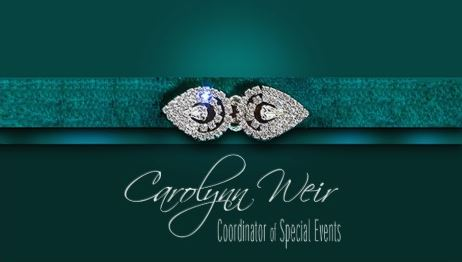 Glamorous Diamond Bejeweled Teal Elegant Event Planner Business Cards