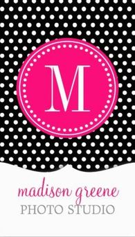 Chic Black White Polka Dots Hot Pink Monogram Business Cards