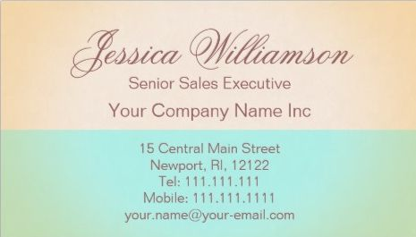 Simple Gold and Aqua Elegant Contemporary Chic Business Cards