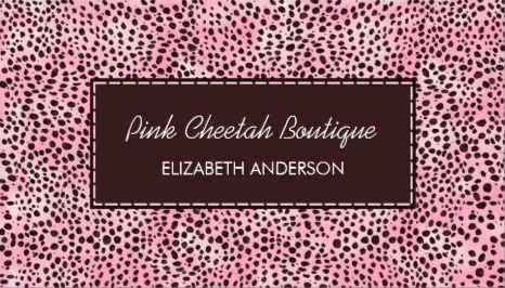 Trendy Pink Cheetah Print Girly Beauty Boutique Business Cards