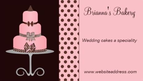 cute pink and chocolate brown girly three tier cake bakery business cards - Bakery Business Cards