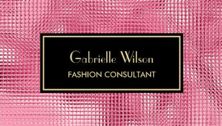 Glitzy Black and Pink Faux Sequin Fashion Consultant Business Cards