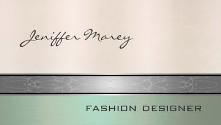 Simple Elegance Pastel Green and Rosy Beige Fashion Designer Business Cards