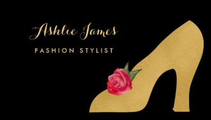 Chic Faux Gold Shoe With Red Rose Fashion Stylist Business Cards