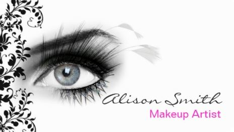 Modern Elegance Glamorous Eyelashes Black Floral Makeup Artist Business Cards