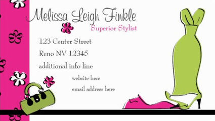 Girly Pink and Green Fashion Designer With Gown and Flowers Business Cards