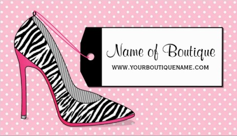 Fashion Boutique Pink and Black Zebra Stiletto Shoe Business Cards