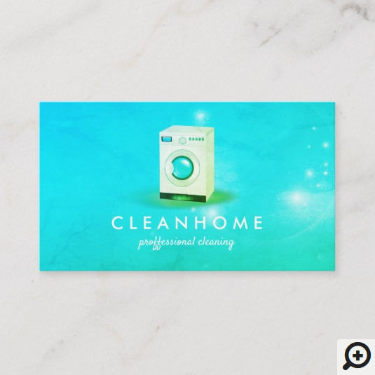 Washing Machine Aqua Green Cleaning Housekeeping Business Cards