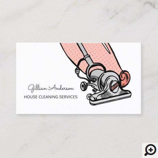 Retro Peach Vacuum Cleaner House Cleaning Services Business Cards