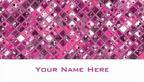 Girly Glitz Sparkling Pink Jeweled Tiles Pattern Business Cards