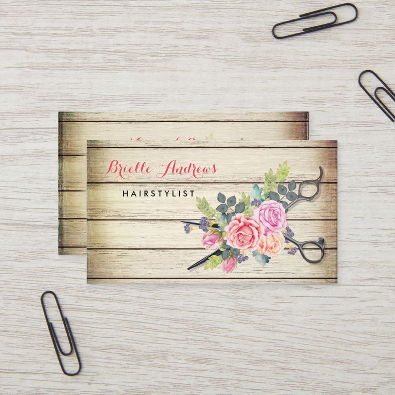 Charming Barn Wood Scissors and Roses Hairstylist Business Cards