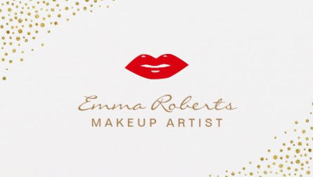 Makeup Artist Simple Red Lips Gold Confetti Dots Business Cards