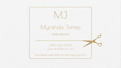 Simple Monogram Hair Stylist Modern Gold Scissors Business Cards