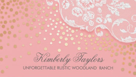 Elegant Lace and Gold Confetti Pink Vintage Business Cards