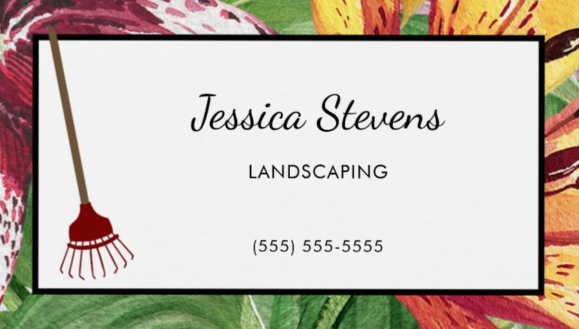 Elegant Floral and Rake Landscape and Design Business Cards