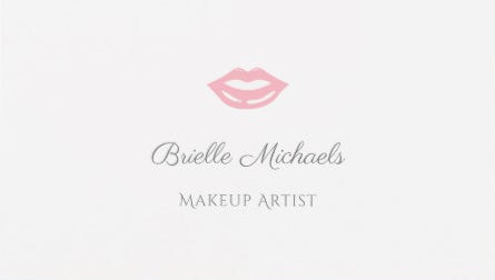 Simple and Chic Soft Pink Lips Makeup Artist Business Cards