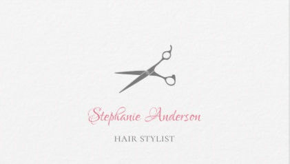 Simple Hair Stylist Gray Scissors With Pink Script Business Card