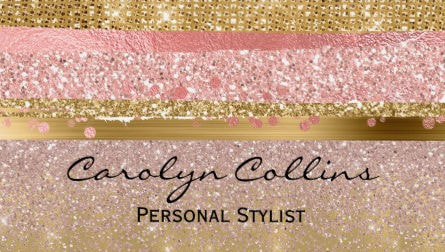 Glitzy Pink and Gold Glittery Chic and Pretty Faux Glitter Business Cards