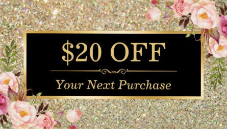Discount Coupon Beauty Salon Floral Gold Glitter Business Cards