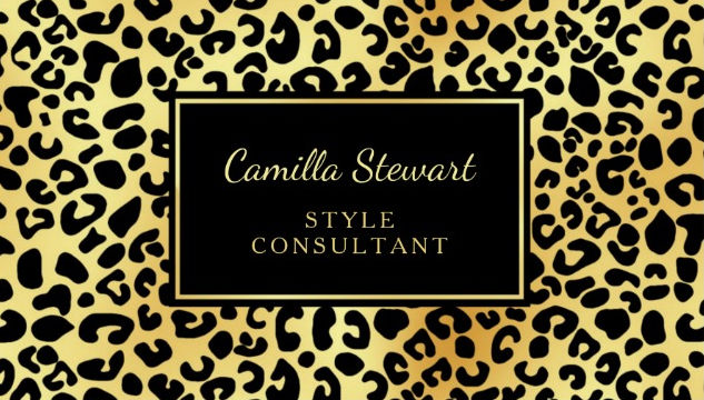 Elegant Black Gold Leopard Print Style Consultant Business Cards