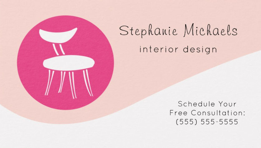 Modern Pink Interior Decorator With Retro Chair Business Cards