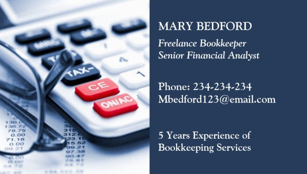 classic calculator freelance bookkeeper financial analyst business cards
